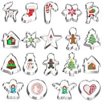 Besteek 18 Piece Cookie Cutter Set, Mini Christmas Cookie Cutters Stainless Steel Shapes Like Gingerbread Man Snowflake for Kids Christmas Holiday