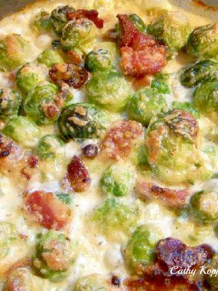 Bacon and Brussels Sprouts Gratin. Bacon, cheese and Brussels Sprouts all baked in a creamy sauce. Very easy recipe and of course absolutely delicious!