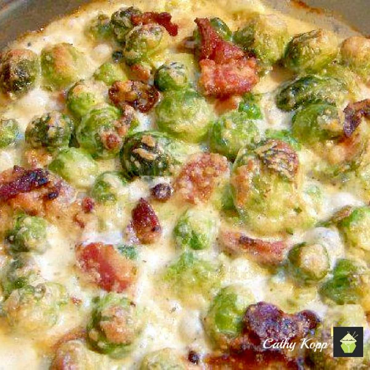 Bacon and Brussels Sprouts GratinP