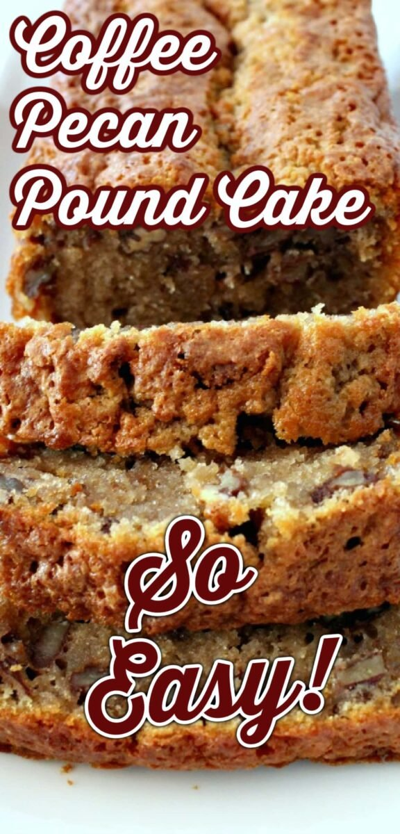 Coffee Pecan Pound Cake is a lovely tasting, moist cake with a perfect combination of coffee flavor and texture from the pecans. Delicious with a cup of coffee!