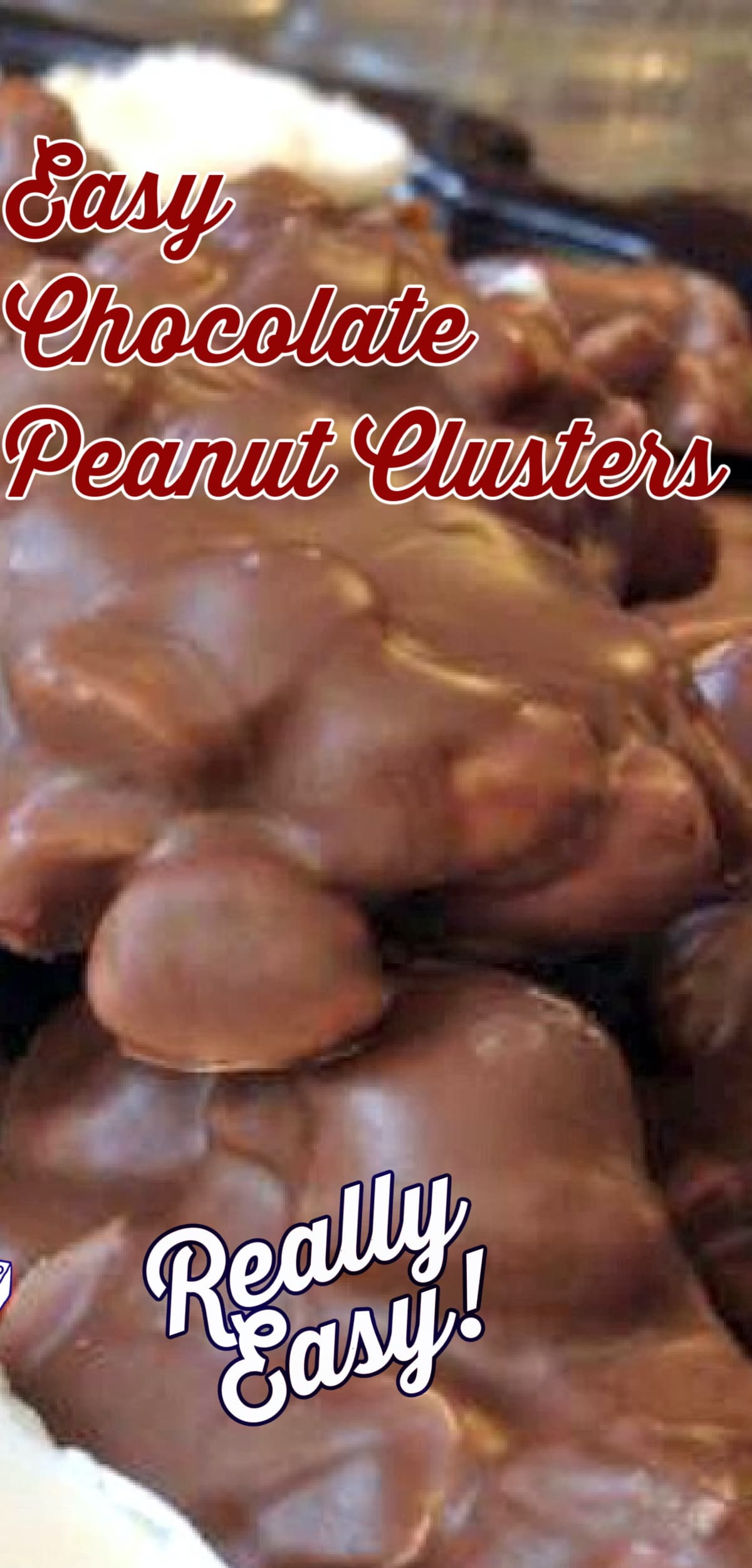 Easy Chocolate Peanut Clusters! These little chocolate bites are quick and easy to make. You can also add raisins, your favorite nuts, cranberries, whatever you like! You choose!