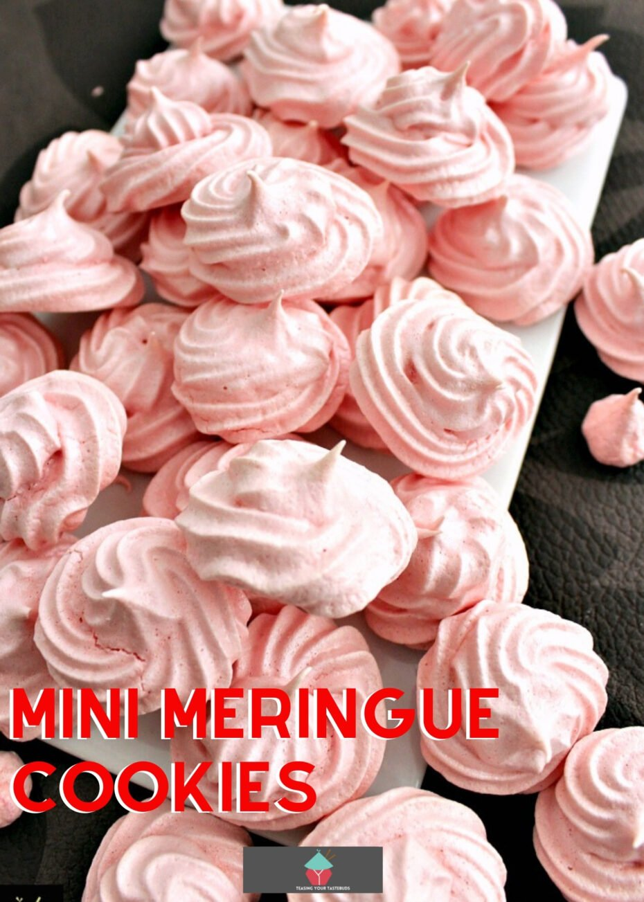 Mini Meringue Cookies! These are a wonderful sweet treat made up of just 2 ingredients. Incredibly easy to make and are perfect for adding to desserts or eating just as they are.