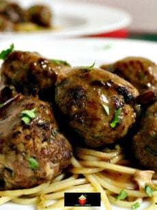 Garlic Meatballs and Pasta, homemade juicy meatballs with spaghetti, coated in a delicious sauce, tasty & easy recipe. Great for weeknight dinners!
