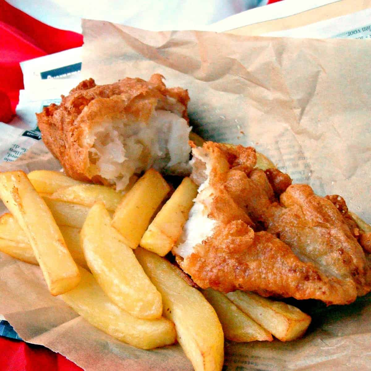 Traditional Homemade British Beer Battered Fish And Chips With A Classic Easy Batter Recipe