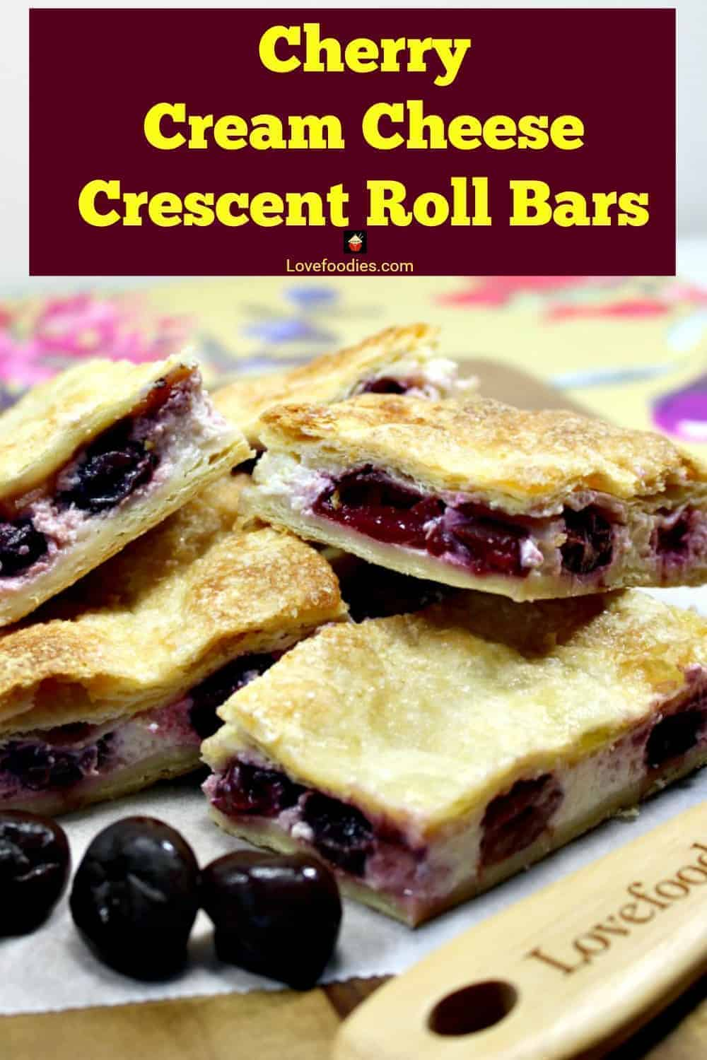 Cherry Crescent Roll Cheesecake Bars. A.K.A Sopapilla Cheesecake Bars. An incredibly quick, easy recipe with cream cheese and cherries sandwiched between layers of flaky buttery golden pastry. Popular cream cheese crescent roll fruit dessert