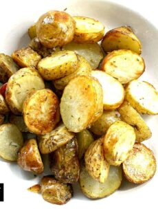No-Fuss, Oven Roasted Baby New Potatoes recipe, a simple side dish, creamy, crunchy, tender and bursting with flavor from delicious seasonings