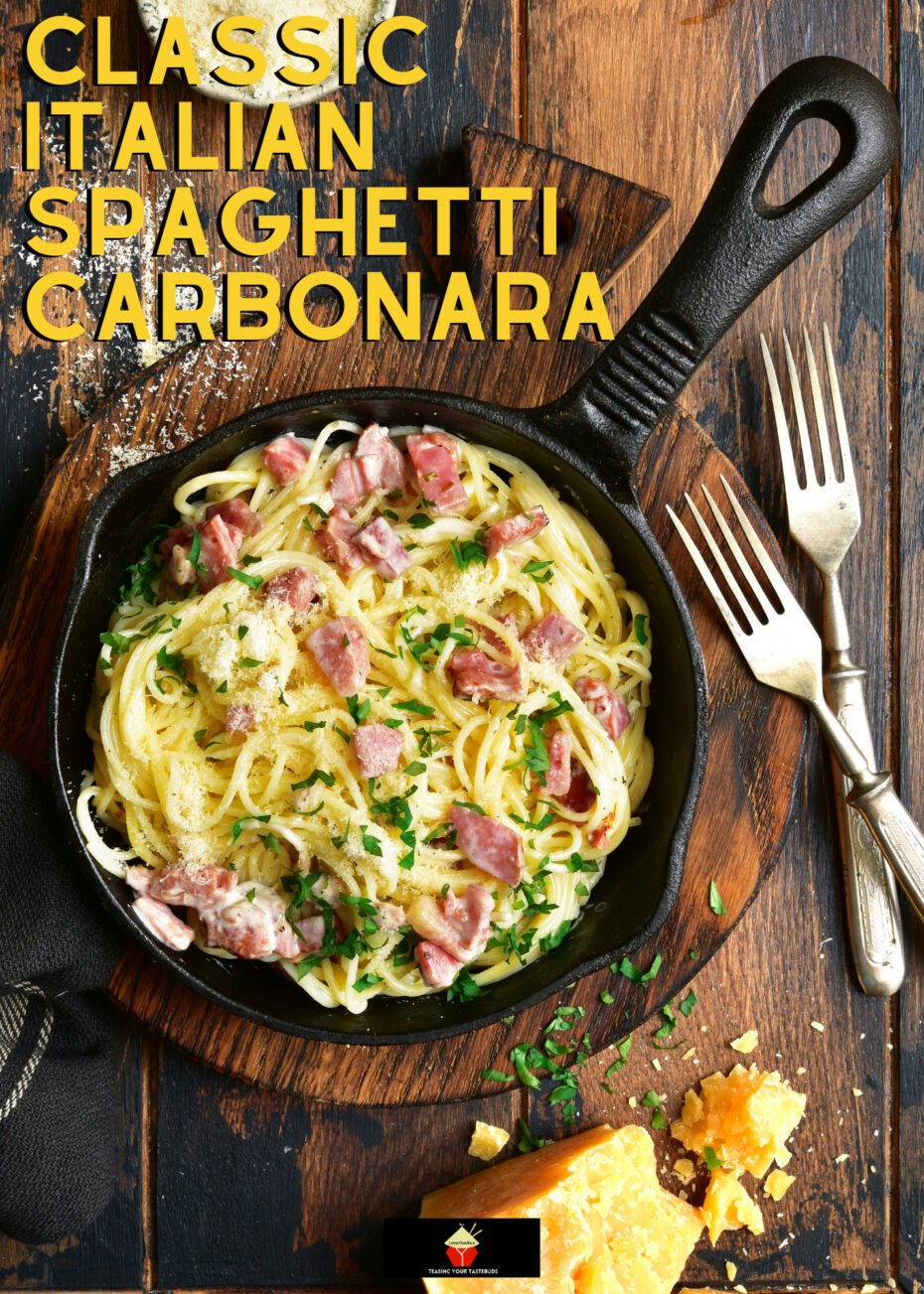 Classic Italian Spaghetti Carbonara. Our best ever traditional carbonara with cheese and bacon. A cheesy pasta dish, easy to make & a family favorite.