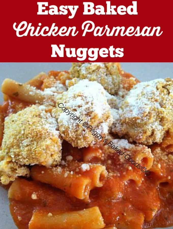 Easy Baked Chicken Parmesan Nuggets, coated in a delicious mozzarella and tomato sauce. Delicious made from scratch dinner for all the family to enjoy