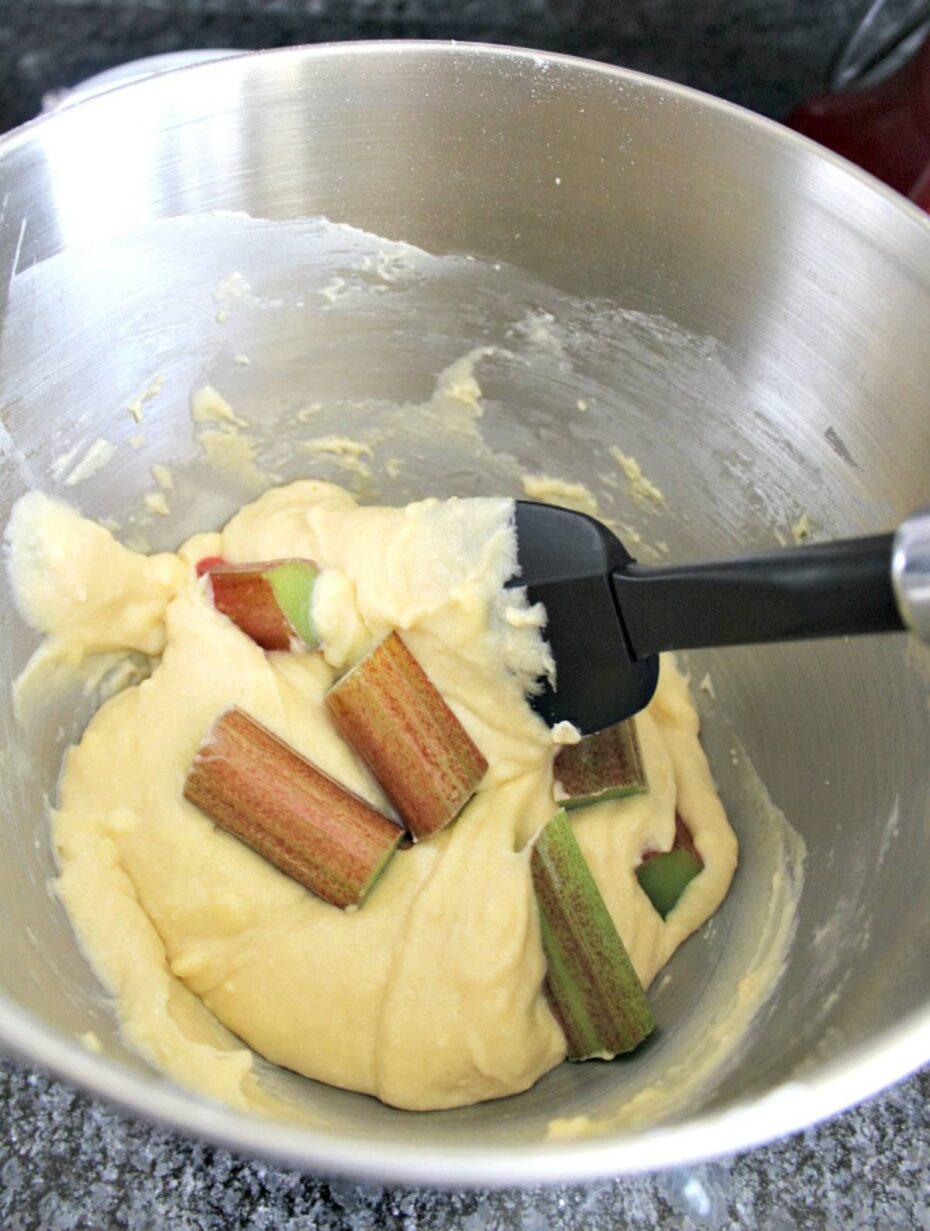 Fold in rhubarb for rhubarb cake