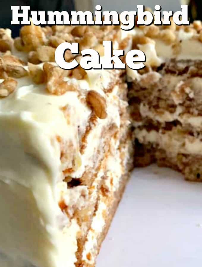 The Famous Hummingbird Cake! A very popular soft and moist cake with pecans, bananas, pineapples, and a delicious frosting too!