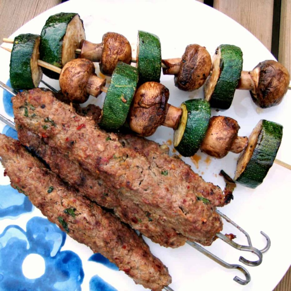 Zucchini and Mushroom Kebabs. A perfect side dish to any BBQ, easy to make with a simple balsamic marinade. Full of flavor, juicy vegetables on a kebab