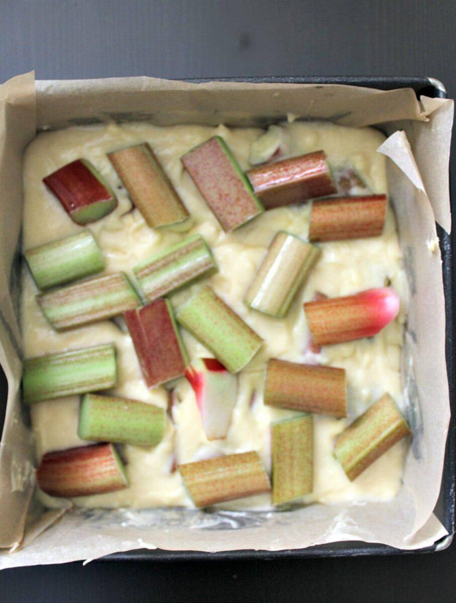 Rhubarb arrangement on cake batter