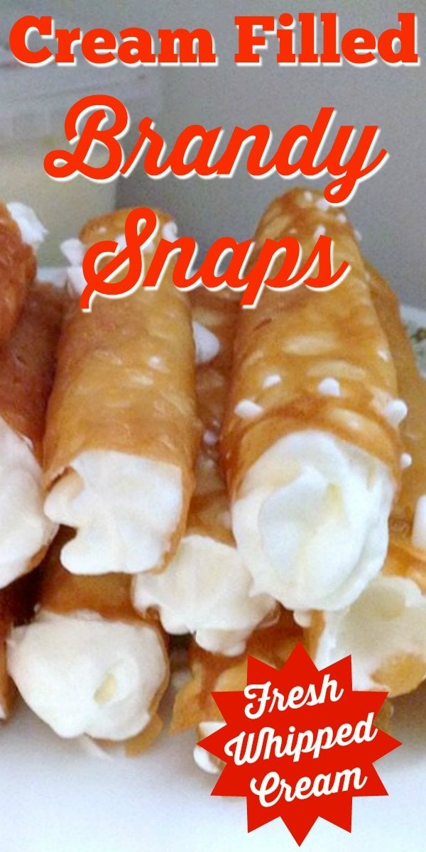 Cream Filled Brandy Snaps. A wonderful cookie type treat, oddly enough, with no brandy! One is never enough so be sure to make plenty!