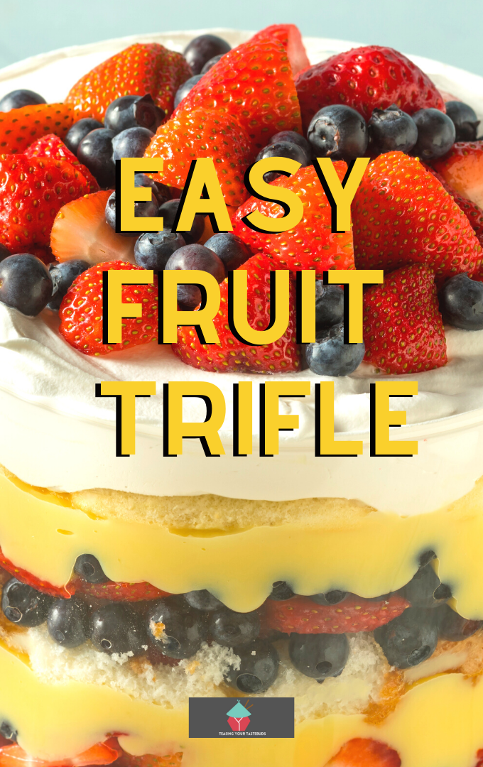 Easy Fruit Trifle. A very quick to make easy fruit trifle recipe, uses fresh, canned or frozen fruits. Prep in under 15 minutes. Perfect for dessert or a party!