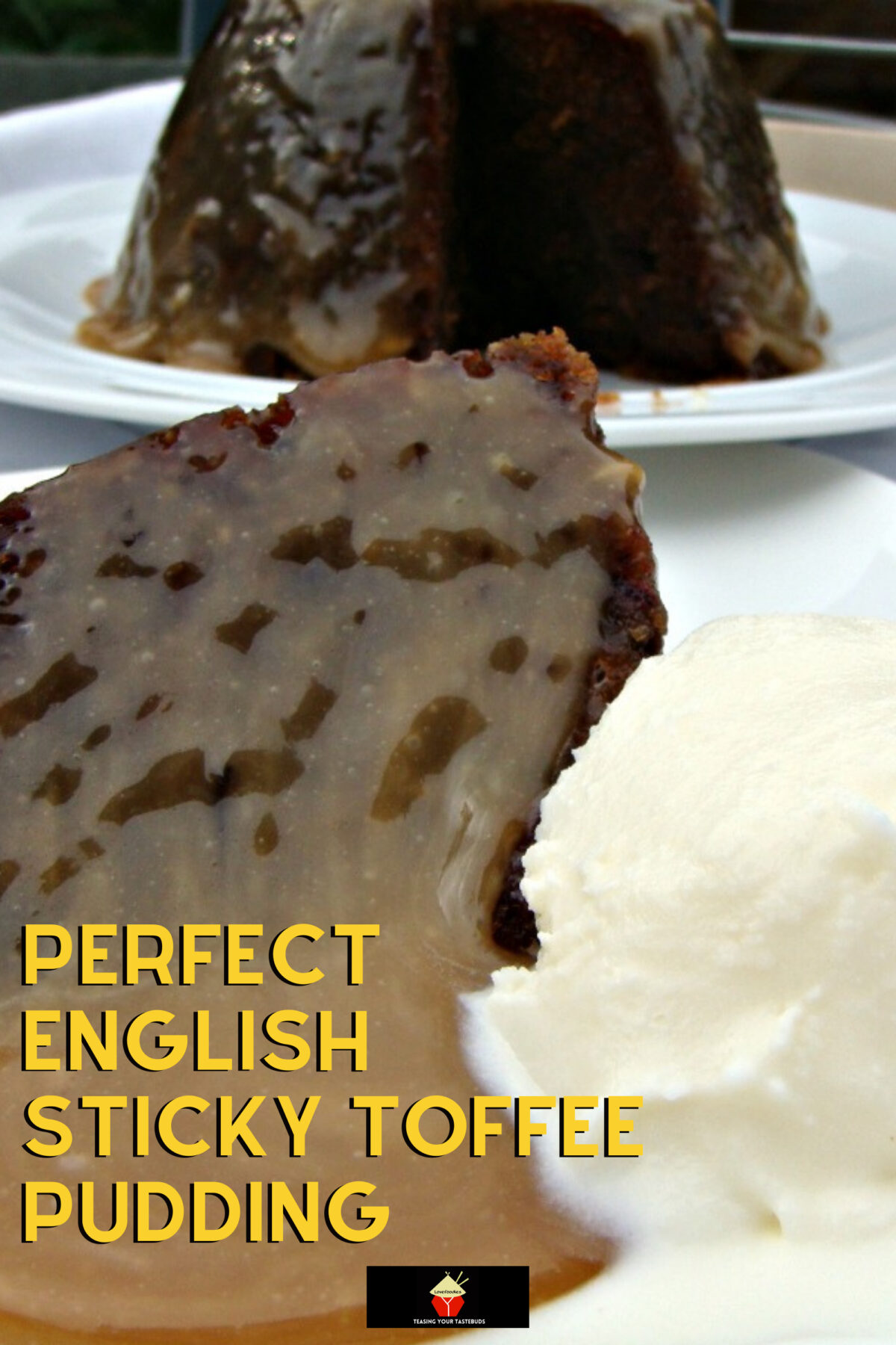 Perfect English Sticky Toffee Pudding. Heavenly! A delicious cake dessert served with a dreamy toffee sauce. It's a keeper!