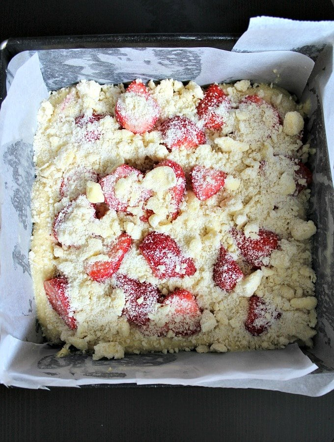 Easy Homemade Strawberry Cake. Add the streusel topping to the cake