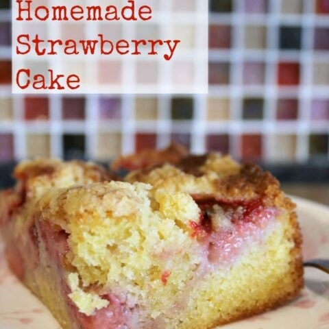 Easy Homemade Strawberry Cake. Quick & easy made from scratch recipe with a delicious streusel crumble topping. Great tasting simple cake recipe. Perfect for dessert or tea time