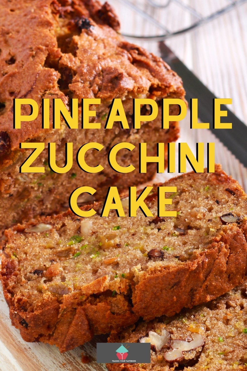 Pineapple Zucchini Cake, a lovely soft cake with shredded zucchini, pineapple, nuts, raisins and spices. Smells fabulous when it's baking! Easy recipe