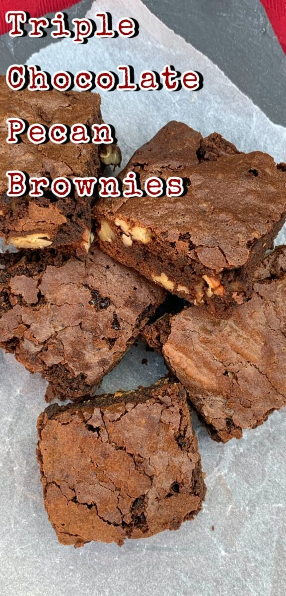 Triple Chocolate Pecan Brownies. These chewy soft brownies have a classic crisp outer, loaded with chocolate and pecan nuts. A sinfully rich chocolate dessert perfect for chocolate lovers