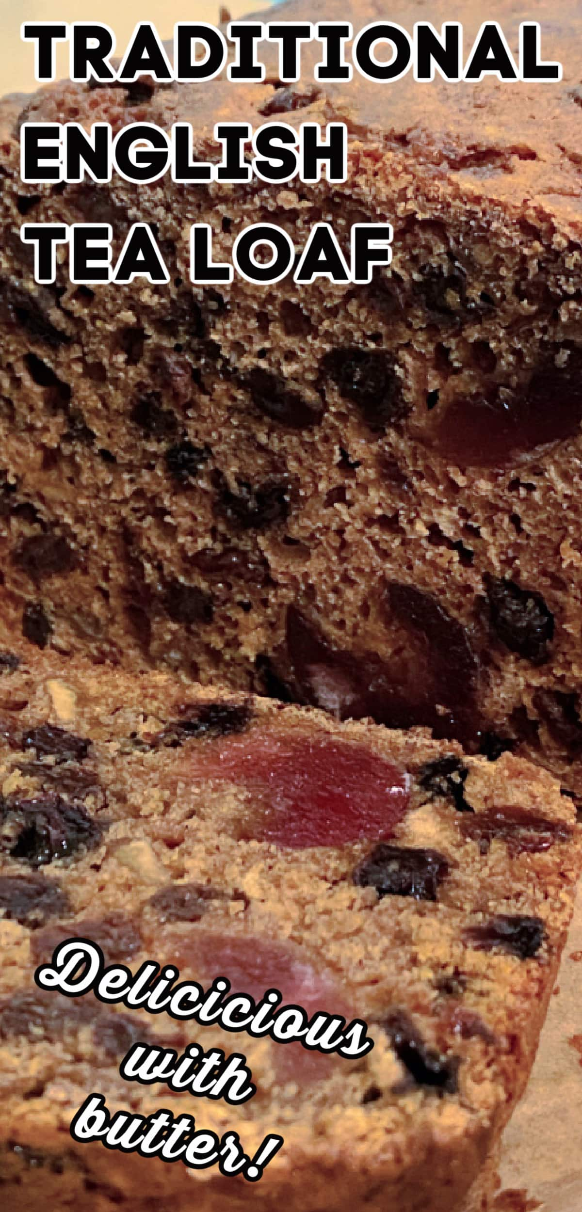 Traditional English Tea Loaf. Delicious tea-soaked dried fruits fill this soft, moist, sweet bread. Traditionally served with a spread of butter alongside afternoon tea.