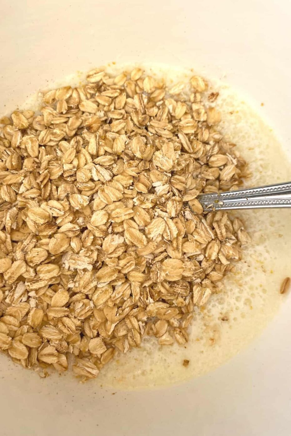 Fluffy Cherry Oatmeal Breakfast Muffins, add oats to wet ingredients