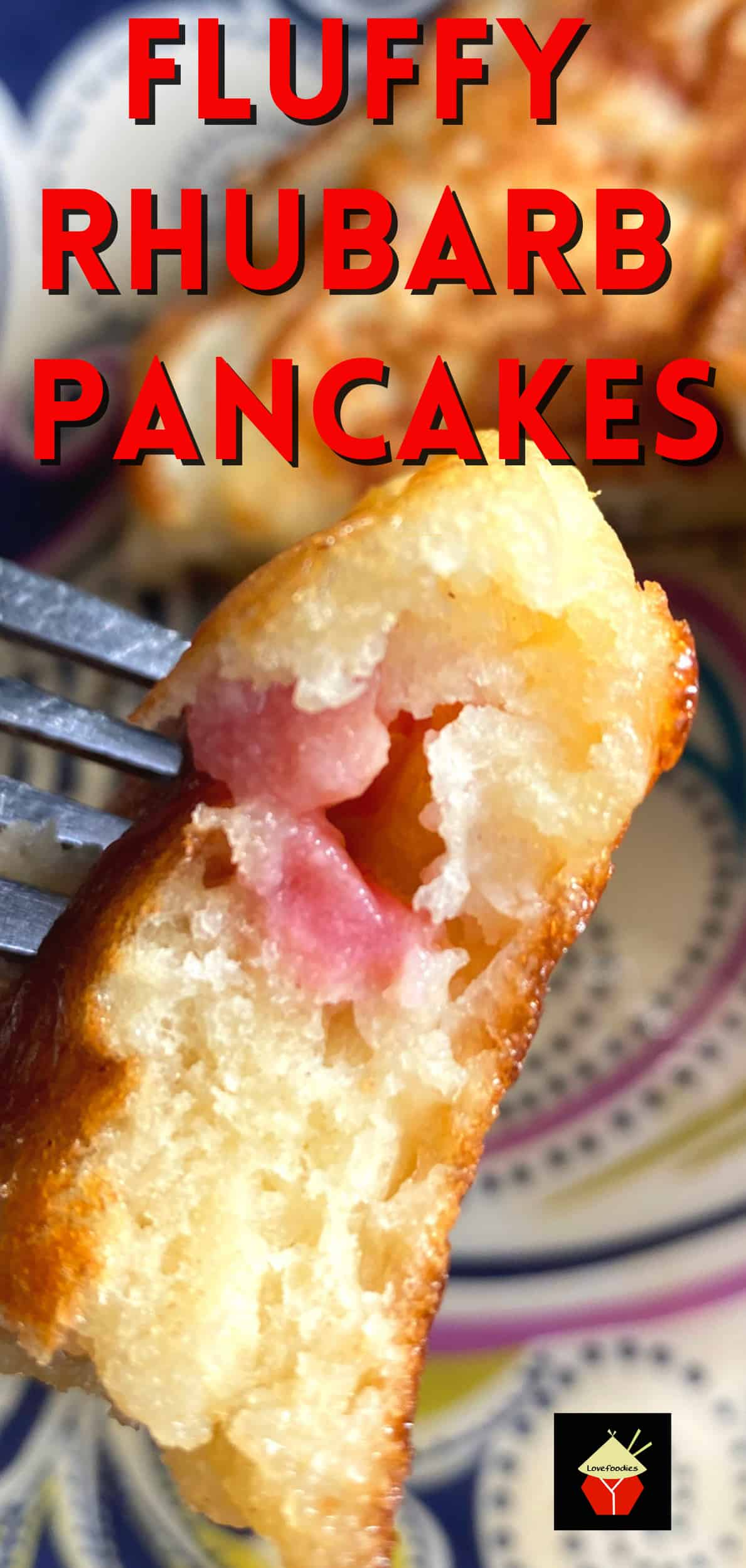 Fluffy Rhubarb Pancakes. Quick and easy breakfast pancakes, bursting with juicy rhubarb. Light and as fluffy as a feather, with no added fat. Serve warm with a drizzle of maple syrup or honey.