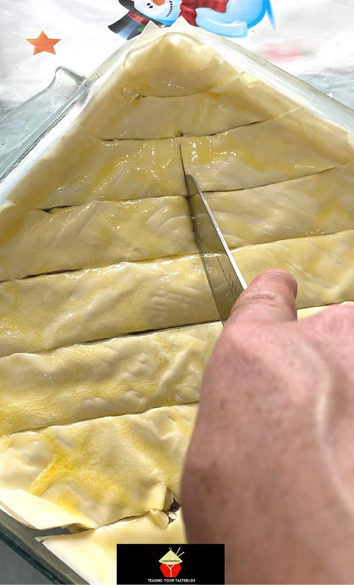 Easy Honey Baklava, how to cut