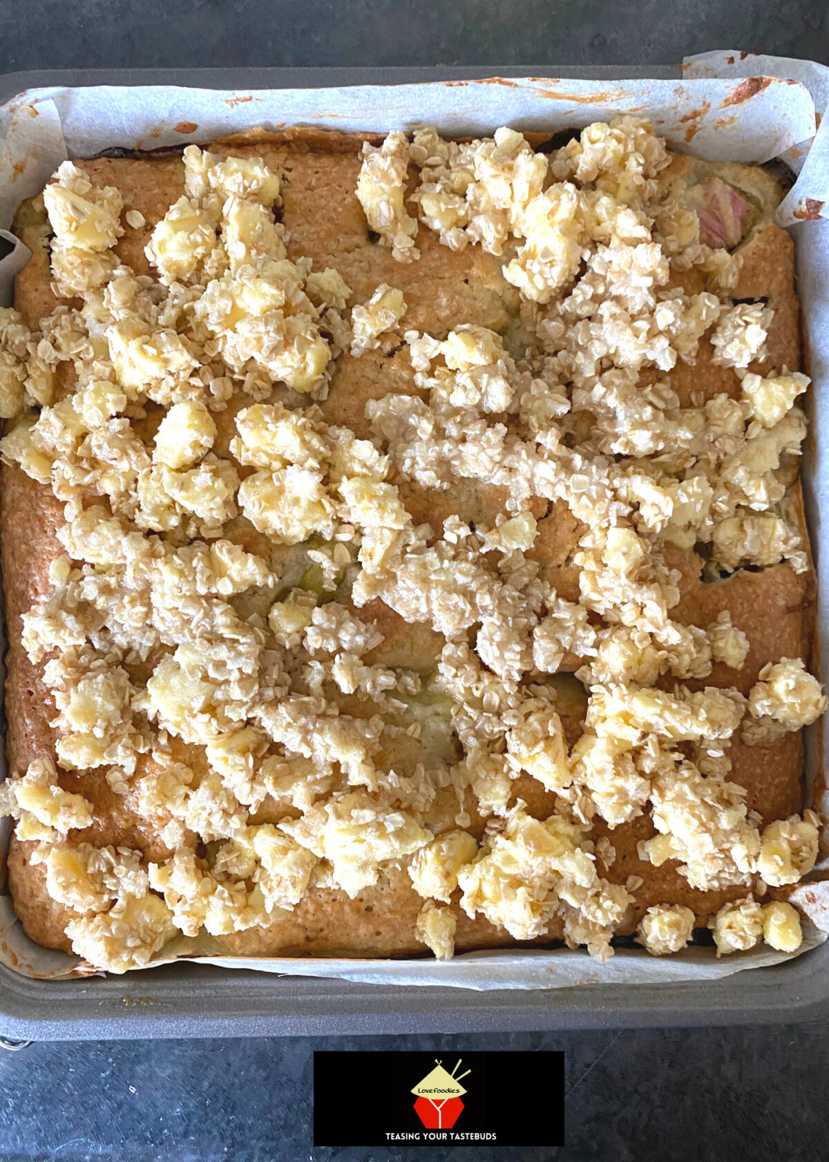 Lazy Daisy Rhubarb Oatmeal Cake, add the topping