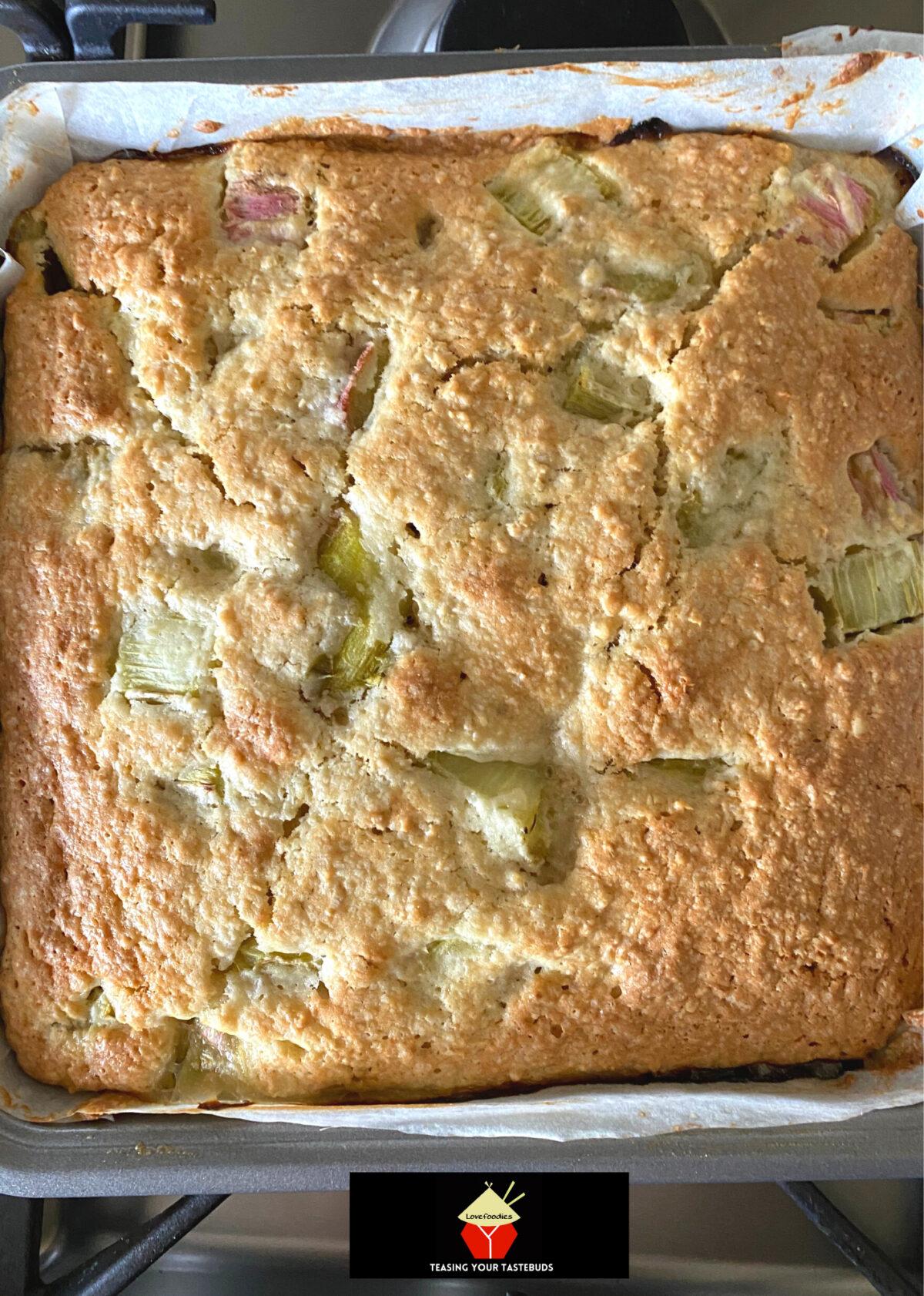 Lazy Daisy Rhubarb Oatmeal Cake, baked