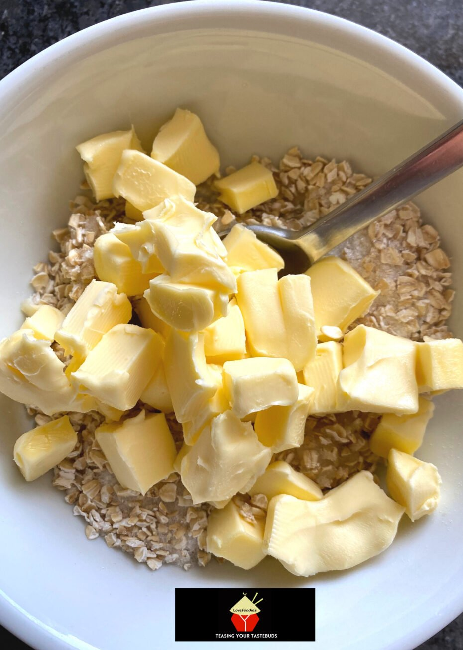 Lazy Daisy Rhubarb Oatmeal Cake, oat topping
