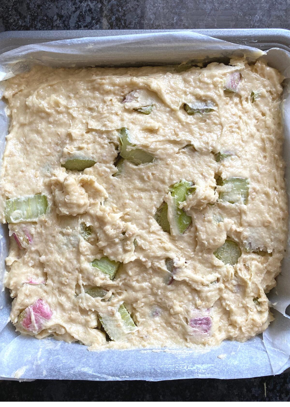 Lazy Daisy Rhubarb Oatmeal Cake, transfer cake batter to pan