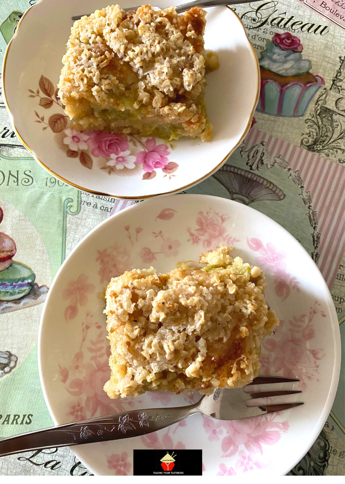 Lazy Daisy Rhubarb Oatmeal Cake. Just like grandma used to make, old fashioned Lazy Daisy Oatmeal Cake with rhubarb, delicious served warm, this gooey gooey cake is a great dessert!
