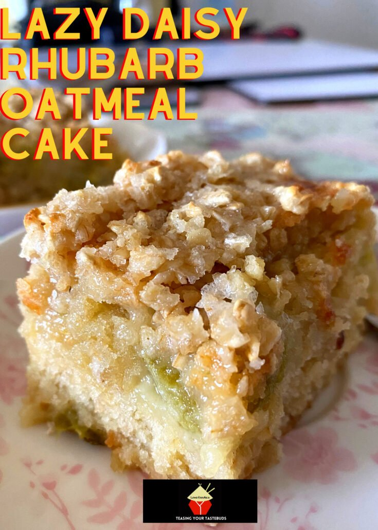 Lazy Daisy Rhubarb Oatmeal CakeH