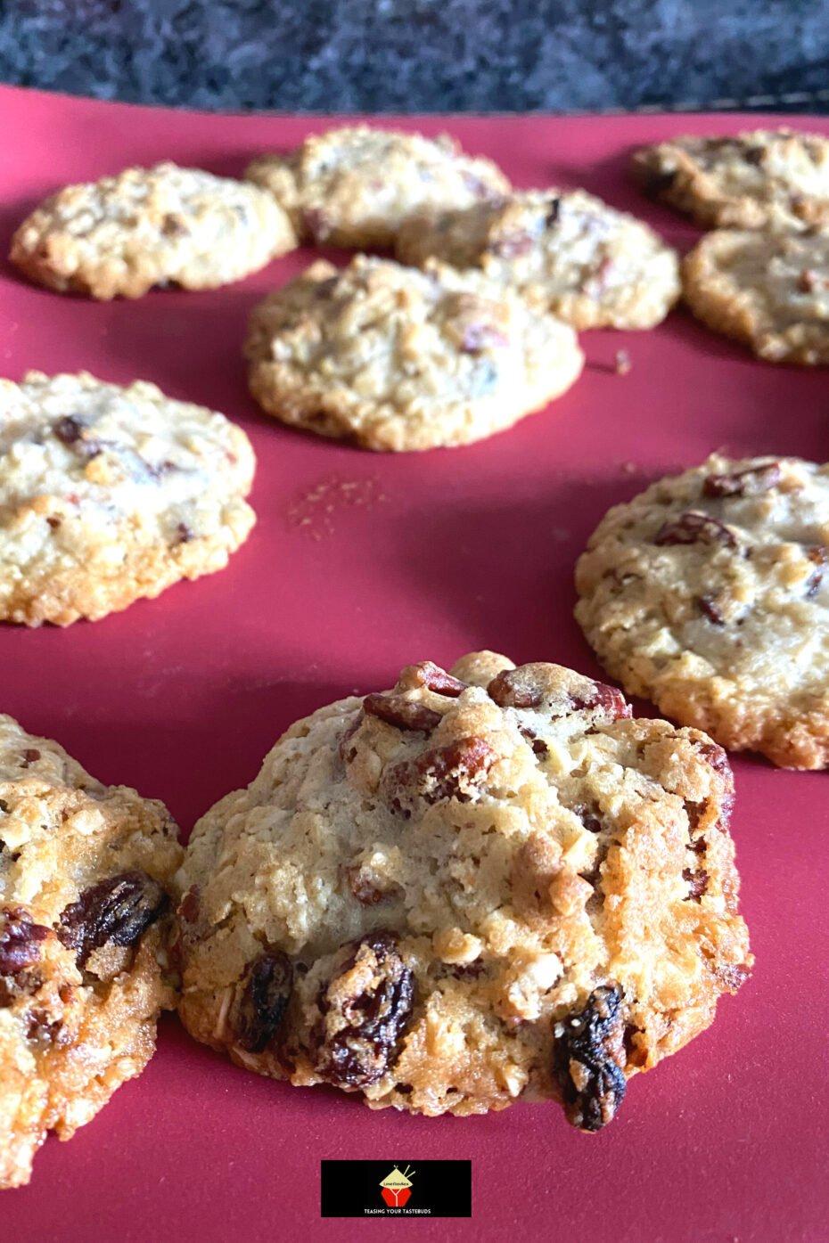 Pecan and Raisin Oatmeal Cookies, baked
