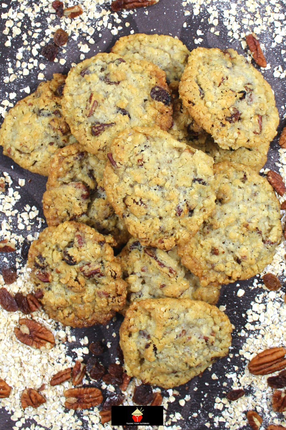Pecan and Raisin Oatmeal Cookies. Soft and Chewy on the inside and crispy on the outside, these are the BEST EVER oatmeal cookies, loaded with pecan nuts and raisins. A simple classic cookie recipe