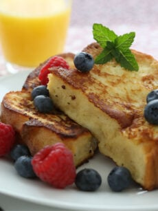 "French Toast, A.K.A 'Eggy Bread"" is soft bread, soaked in beaten egg and pan-fried in butter. Serve for breakfast or brunch with a selection of berries and a drizzle of honey"