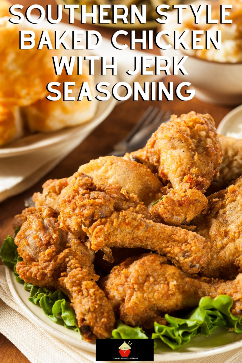 Southern Style Baked Chicken with Jerk Seasoning, marinated in homemade Jerk seasoning and oven-baked with a crispy coating for tender juicy chicken portions. Ideal for a quick and easy dinner, and makes great party food too.