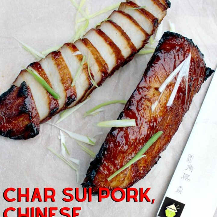Char Sui Pork, Chinese Barbecue Pork. Char sui pork is a delicious recipe, full of flavor. Sticky, sweet, slightly caramelized. Goes great with noodles, fried rice, or simply eaten on its own as an appetizer!
