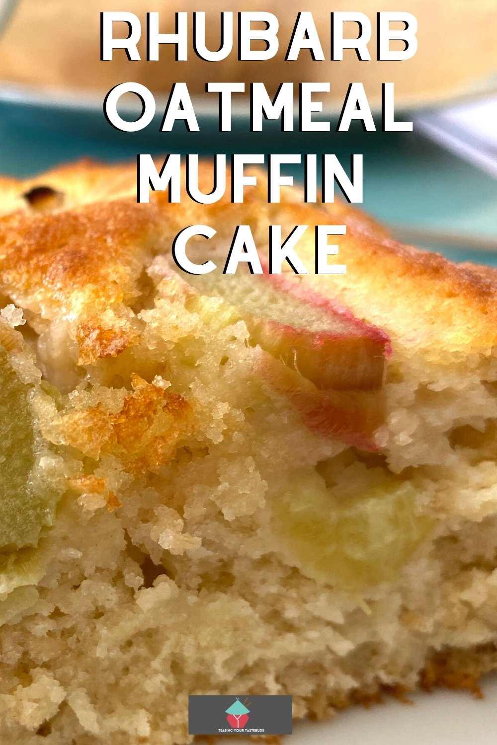 Rhubarb Oatmeal Muffin Cake is a great old fashioned breakfast cake! It's easy to make, bursting with juicy rhubarb and has a great texture from the oats.