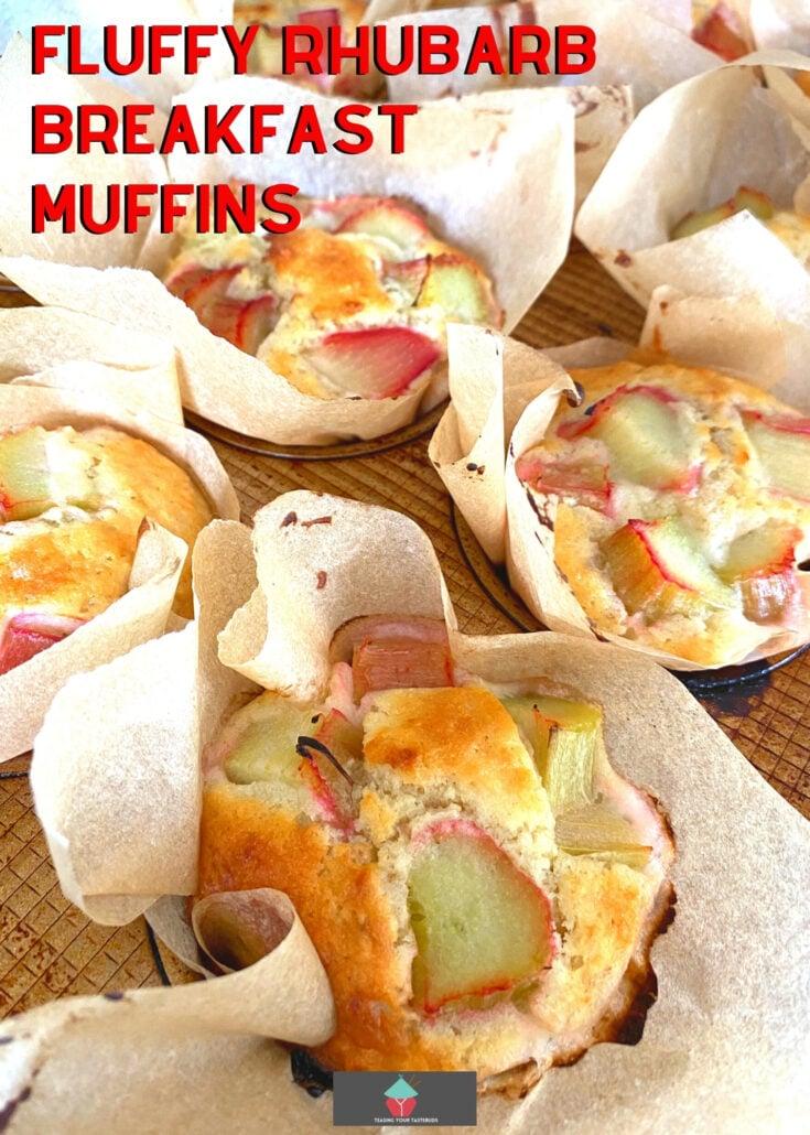 Fluffy Rhubarb Breakfast MuffinsH