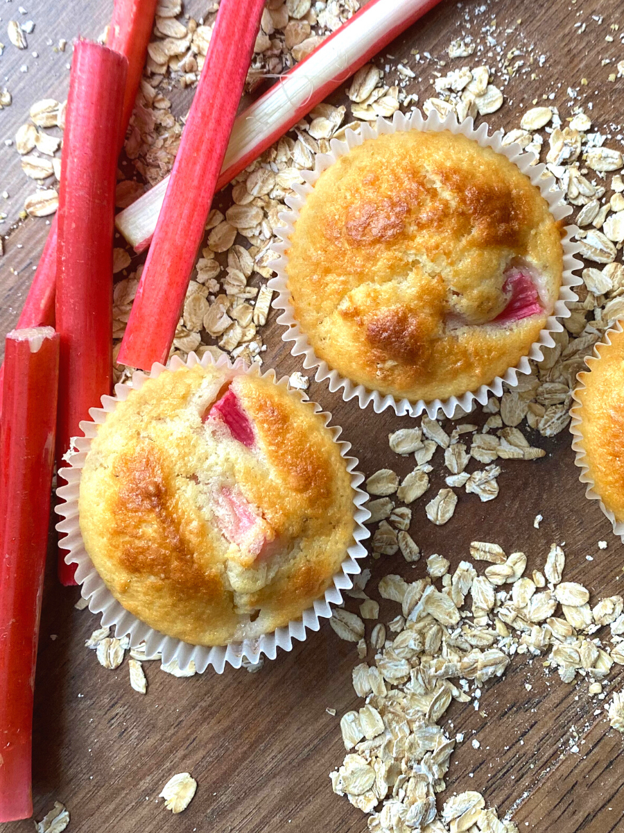 Fluffy Rhubarb Breakfast Muffins. A delicious breakfast or snack, these slightly sweet muffins are loaded with juicy tangy rhubarb, soft and fluffy, with added texture from the oats.