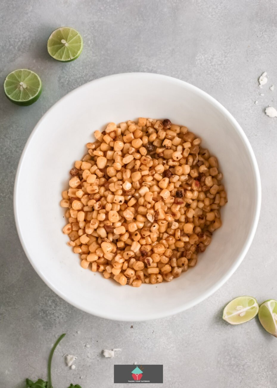 Easy Mexican Street Corn Dip, corn cooked