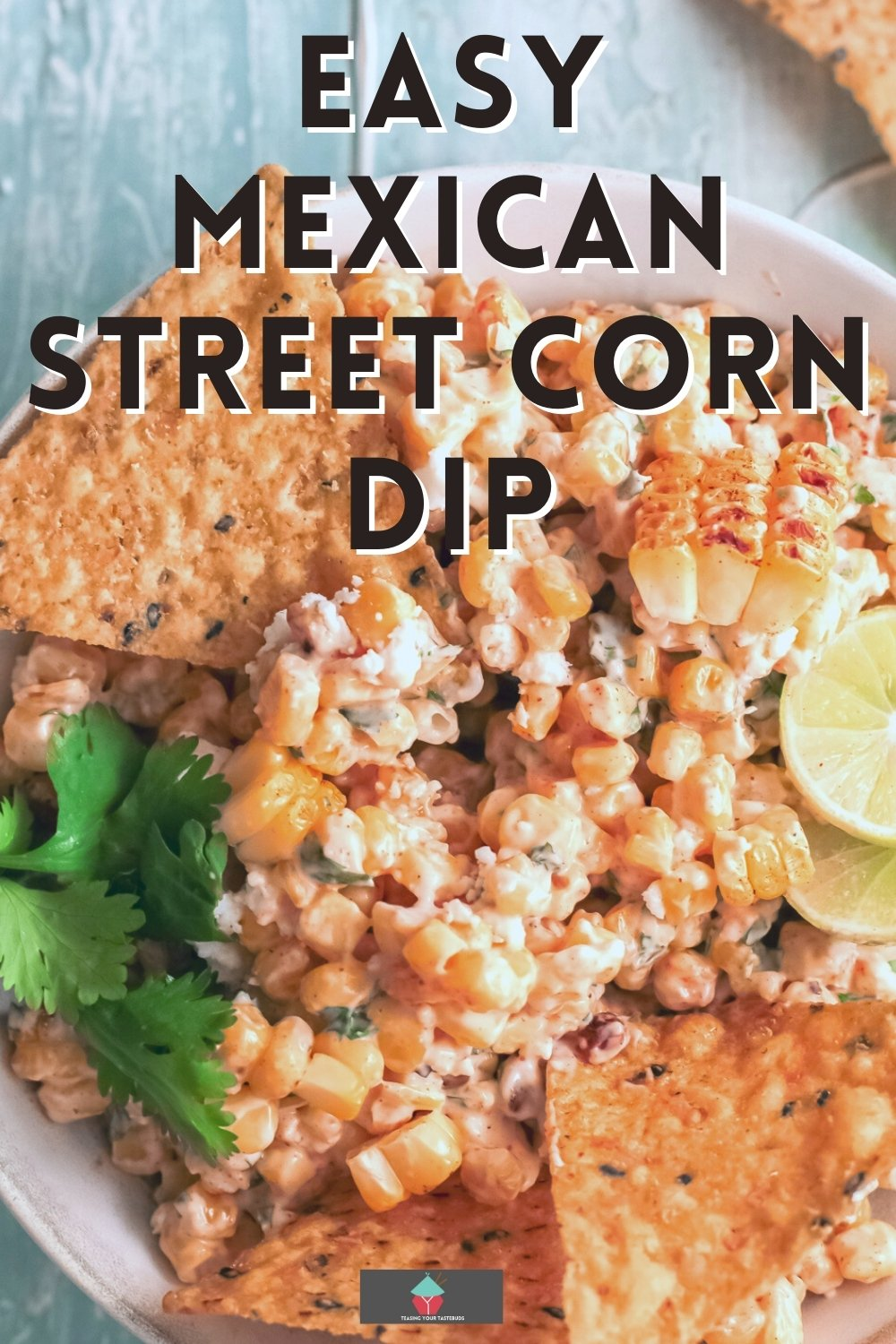 Mexican Street Corn Dip, a traditional street food, serve warm or cold, with tortilla chips or with tacos. An easy dip recipe made of fresh corn, creamy mayo and sour cream, da splash of lime and Mexican Cotija cheese. The best ever dip you'll eat!